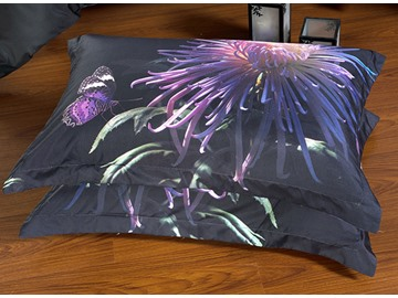 Elegant Noble Purple Chrysanthemum Butterfly Print 5-Piece Comforter Sets