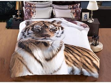 Majestic-looking Stylish Tiger Print 5-Piece Comforter Sets