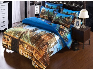3D Night Cityscape Printed Polyester 5-Piece Comforter Sets