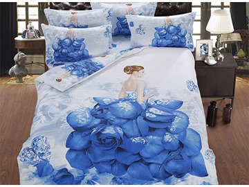 3D Girl in the Blue Rose Dress Printed Cotton 5-Piece Comforter Sets