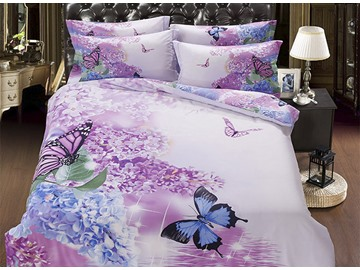 3D Butterfly and Lilac Printed Cotton 5-Piece Comforter Sets