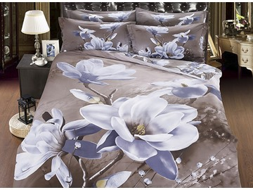 Delicate White Flowers Print 5-Piece Cotton Comforter Sets