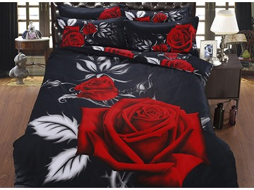 3D Blooming Red Rose Printed Cotton 5-Piece Black Comforter Sets