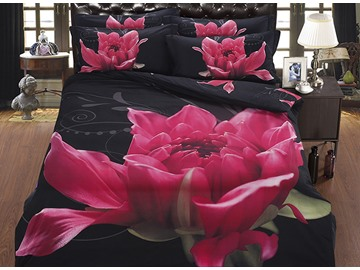 3D Dissilient Red Flower Printed Polyester 5-Piece Comforter Sets