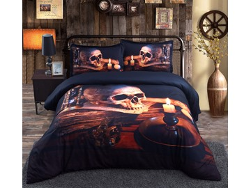 3D Skull and Candle Printed 5-Piece Halloween King Size Comforter Sets