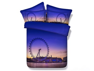 3D Ferris Wheel at Dusk Printed 5-Piece Comforter Sets