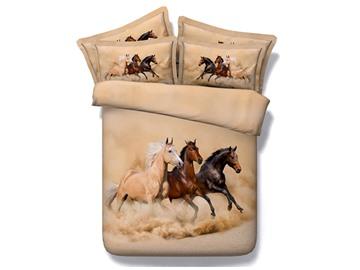 3D Running Horses Printed Tencel 5-Piece Comforter Sets