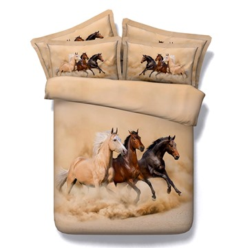 3D Running Horses Printed Polyester 5-Piece Comforter Sets