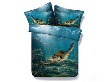 3D Swimming Turtle Blue Ocean Print Bedding Set 5-Piece Comforter Set Polyester