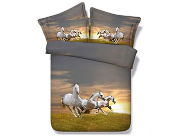 3D Galloping White Horses Printed 5-Piece Comforter Sets