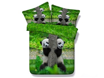 3D Panda Climbing Tree Printed 5-Piece Comforter Sets