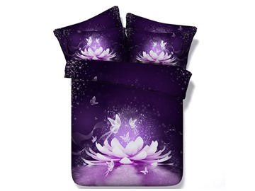 3D Dreamy Lotus and Butterfly Printed 5-Piece Comforter Sets