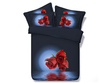 Red Roses Print 5-Piece Comforter Sets