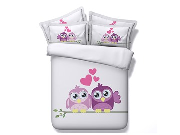 Sweet Lovely Owl Printing 5-Piece Comforter Sets