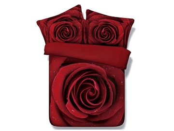 3D Romantic Blooming Red Rose Vivid Digital Printed No-fading Durable 5-Piece Comforter Sets with White Down Insert