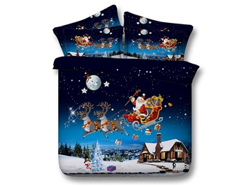 Santa Claus Under the Moonlight Print 5-Piece Comforter Sets
