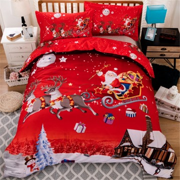 Red Christmas Bedding Santa Comes to Give Presents 3D Printed 5-Piece Comforter Set Soft Polyester New Year Gift
