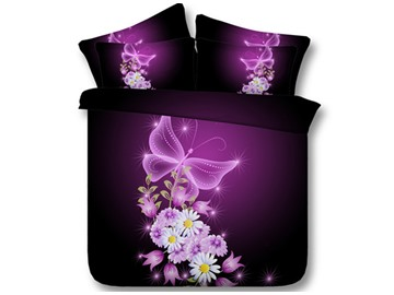 3D Dreamlike Butterflies and Floret Printed 5-Piece Comforter Sets