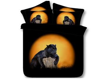Vivid Lying Panther Print 5-Piece Comforter Sets