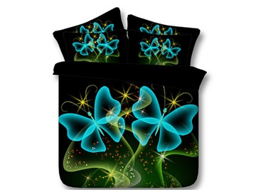 3D Blue Butterflies Printed Tencel 5-Piece Comforter Sets