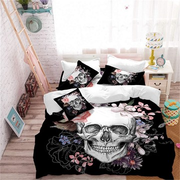 Black Cool Flower Skull Print 5-Piece Comforter Set Halloween Bedding Set Gift