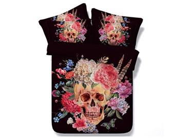Beautiful Flower on Skull Print 5-Piece Comforter Sets
