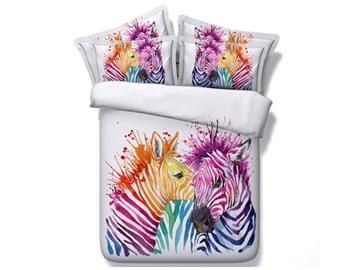 3D Colorful Zebra Couple Printed 5-Piece White Comforter Sets