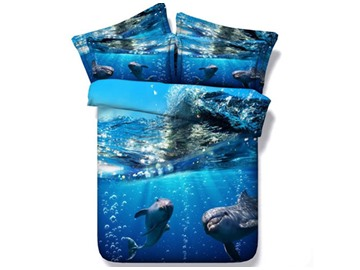 3D Dolphin under the Sea Printed Blue 5-Piece Comforter Sets
