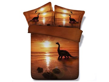 3D Dinosaur at Sunset Printed 5-Piece Comforter Sets