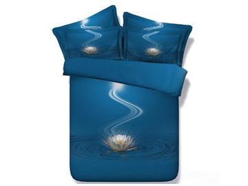 3D White Lotus Printed 5-Piece Blue Comforter Sets