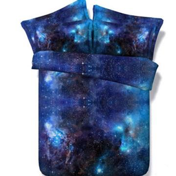 3D Shining Galaxy Digital Printing Blue 5-Piece Comforter Set Bedding Set Polyester