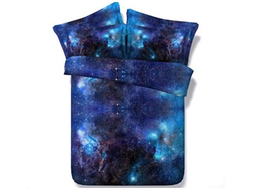 3D Shining Galaxy Digital Printing Blue 5-Piece Comforter Sets
