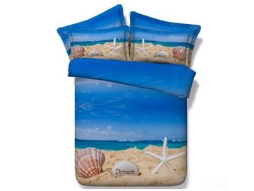 3D Starfish and Shell Print Bedding Set 5-Piece Comforter Set Blue