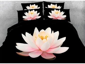 3D Pink Lotus Printed 5-Piece Black Comforter Sets