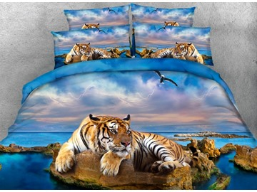 Imperial 3D Tiger Print 5-Piece Comforter Sets
