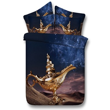 3D Lamp of Aladdin Printed 5-Piece Comforter Sets