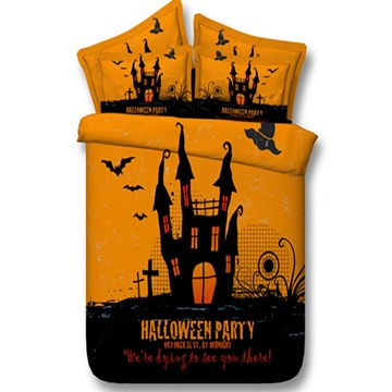 3D Halloween Castle and Bats Printed 5-Piece Comforter Sets