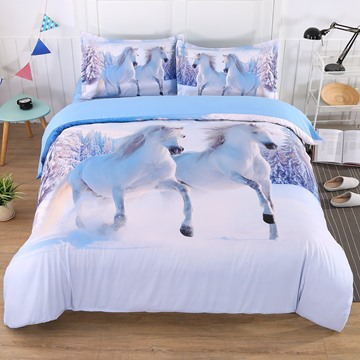 White Snow Horse Digital Printing 5-Piece Comforter Sets Wear-resistant Endurable Skin-friendly All-Season Twin Full Queen King