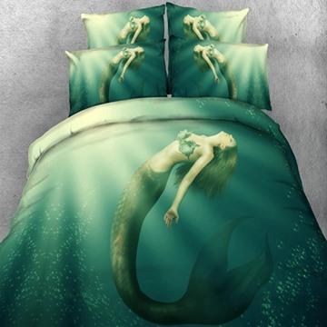 Beautiful Mermaid in the Sea Print 5-Piece Comforter Sets