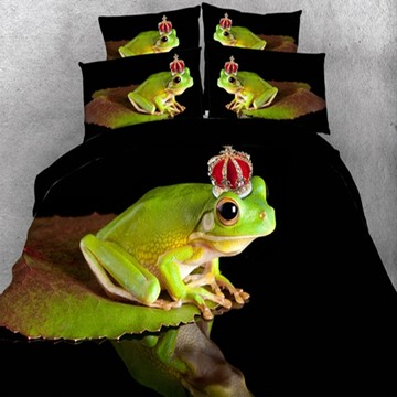 Lovely Frog with Crown Print 5-Piece Comforter Sets