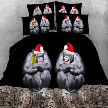 Naughty Orangutan with Christmas Hat Print 5-Piece Comforter Sets