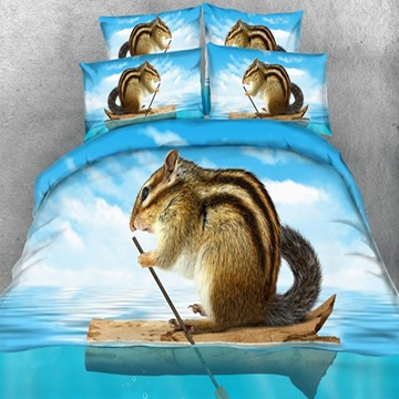 3D Chipmunks in the Boat Printed 5-Piece Comforter Sets