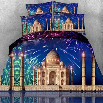 Beautiful Fireworks and Castle Print 5-Piece Comforter Sets