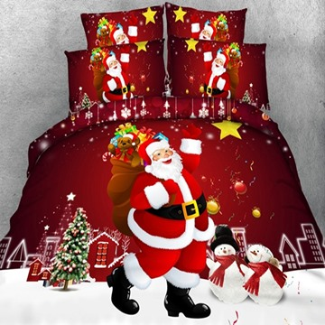 Festive Red Christmas Santa Claus Print 5-Piece Comforter Sets