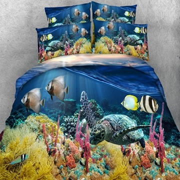 Lifelike 3D Sea Turtle Printed 5-Piece Blue Comforter Set / Bedding Set