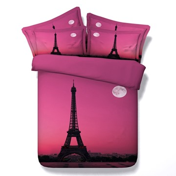 Pink Romantic Eiffel Tower Print 5-Piece Comforter Sets