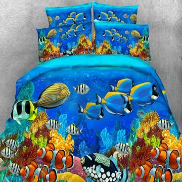 3D Colorful Sea Fish Printed Tencel 5-Piece Comforter Sets