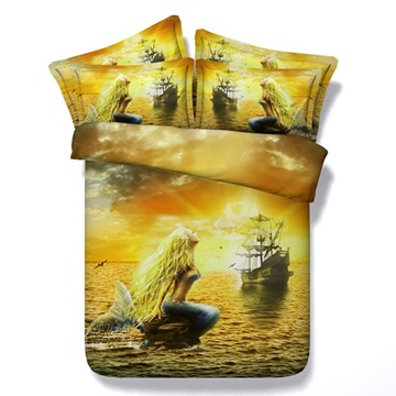 Beautiful Mermaid and Ship Print 5-Piece Comforter Sets
