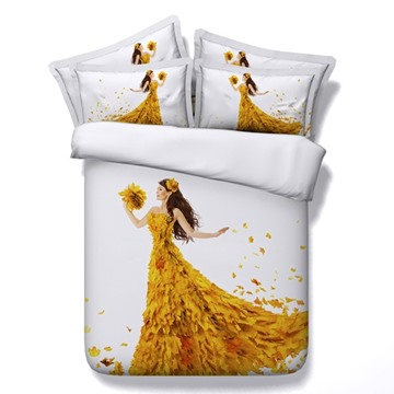 Autumn Girl In Dress Of Maple Leaves Print 5-Piece Comforter Sets