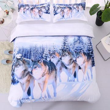 Lifelike Snow Wolf Digital Printing 5-Piece Comforter Sets Ultra-soft Microfiber No-fading Twin Full Queen King